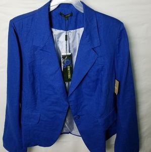 NWT Women's Blue BLazer Linen Single button front